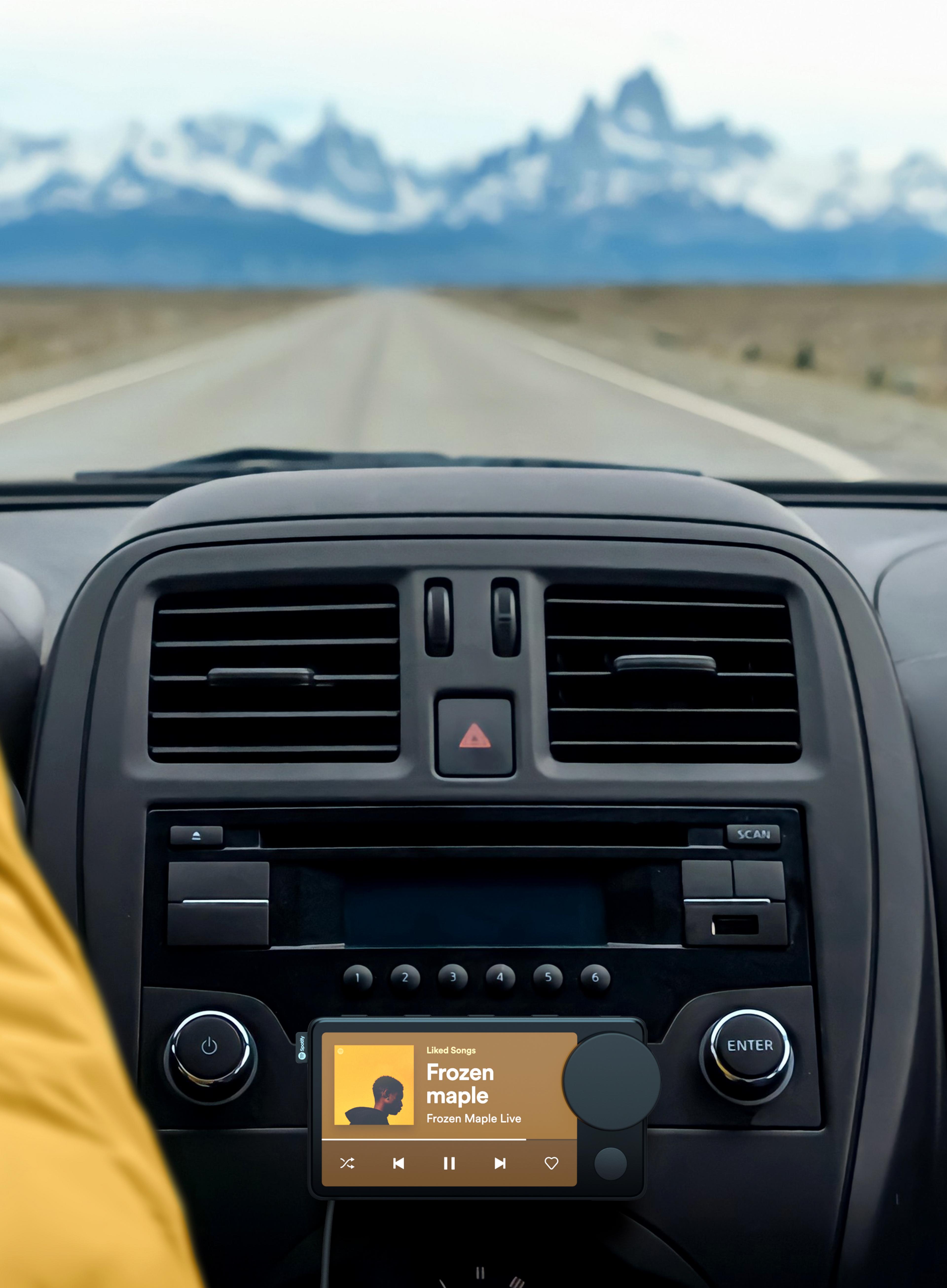 Car Thing mounted on car dashboard